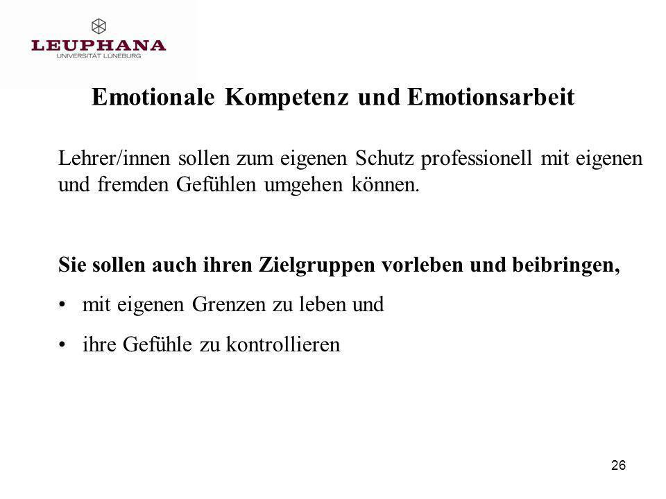 26 Lehrer/innen sollen zum eigenen Schutz professionell mit eigenen und fremden Gefühlen umgehen können.