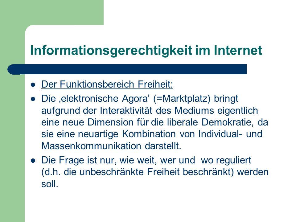 Informationsgerechtigkeit im Internet Der Funktionsbereich Freiheit: Die elektronische Agora (=Marktplatz) bringt aufgrund der Interaktivität des Medi