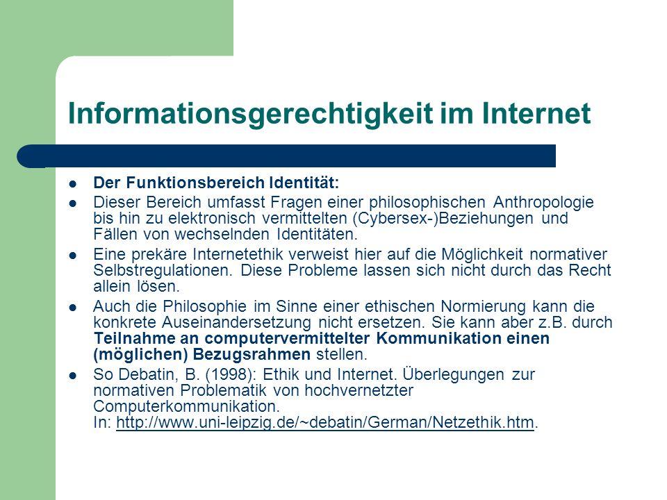 Informationsgerechtigkeit im Internet Der Funktionsbereich Identität: Dieser Bereich umfasst Fragen einer philosophischen Anthropologie bis hin zu ele