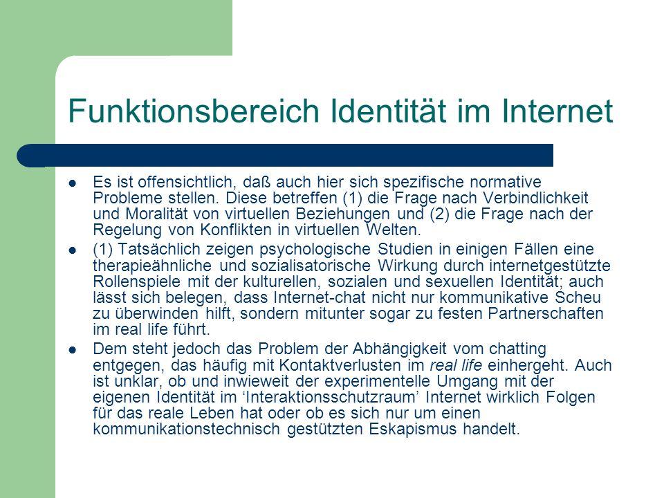 Funktionsbereich Identität im Internet Es ist offensichtlich, daß auch hier sich spezifische normative Probleme stellen. Diese betreffen (1) die Frage