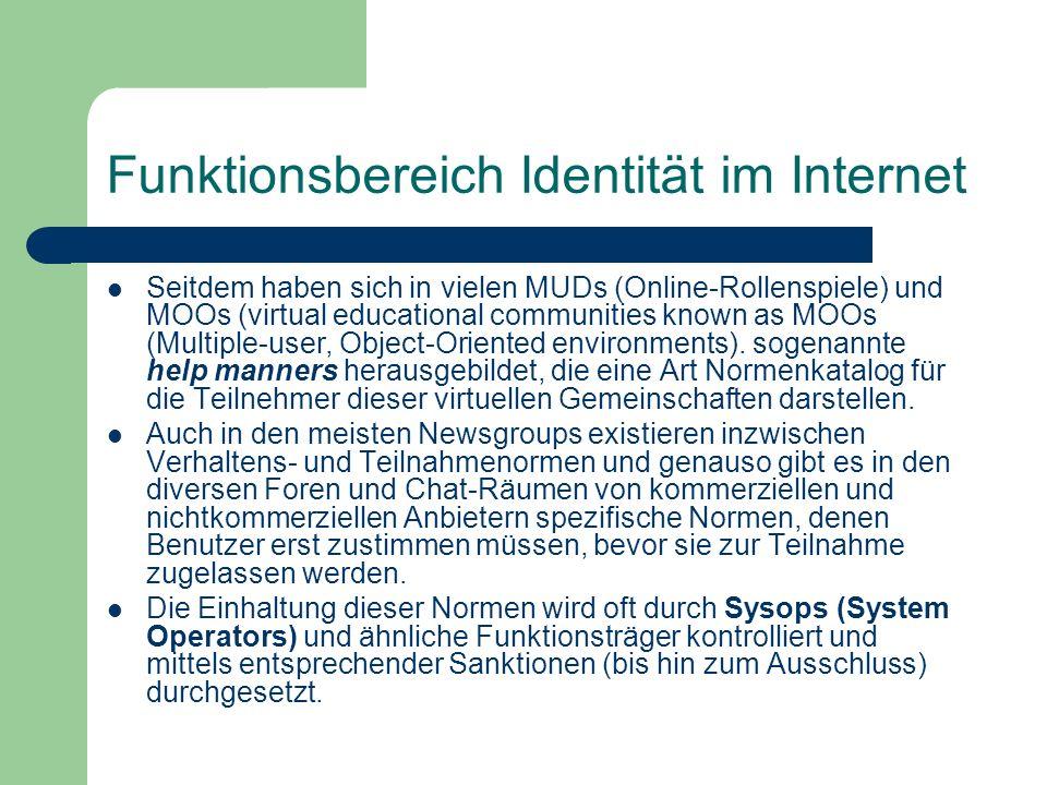 Funktionsbereich Identität im Internet Seitdem haben sich in vielen MUDs (Online-Rollenspiele) und MOOs (virtual educational communities known as MOOs