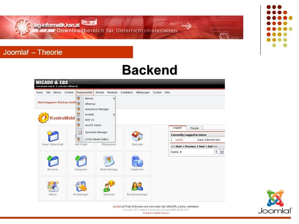 Backend Joomla! – Theorie