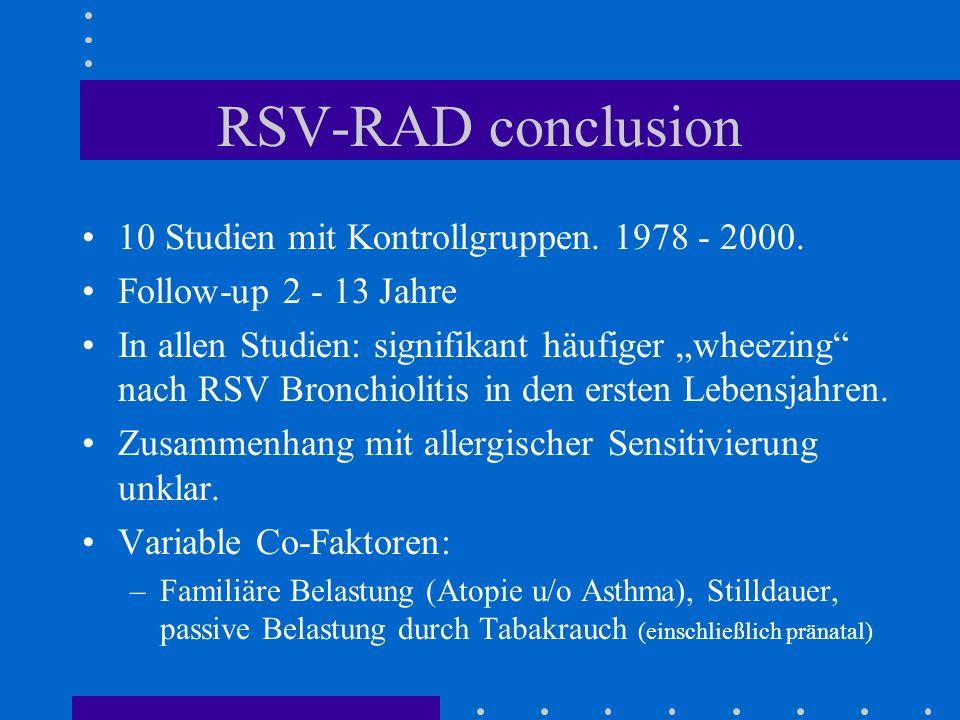 RSV-RAD conclusion 10 Studien mit Kontrollgruppen. 1978 - 2000. Follow-up 2 - 13 Jahre In allen Studien: signifikant häufiger wheezing nach RSV Bronch