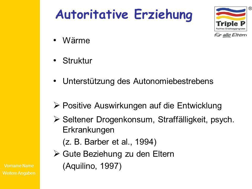 Vorname Name Weitere Angaben Autoritative Erziehung Wärme Struktur Unterstützung des Autonomiebestrebens Positive Auswirkungen auf die Entwicklung Sel