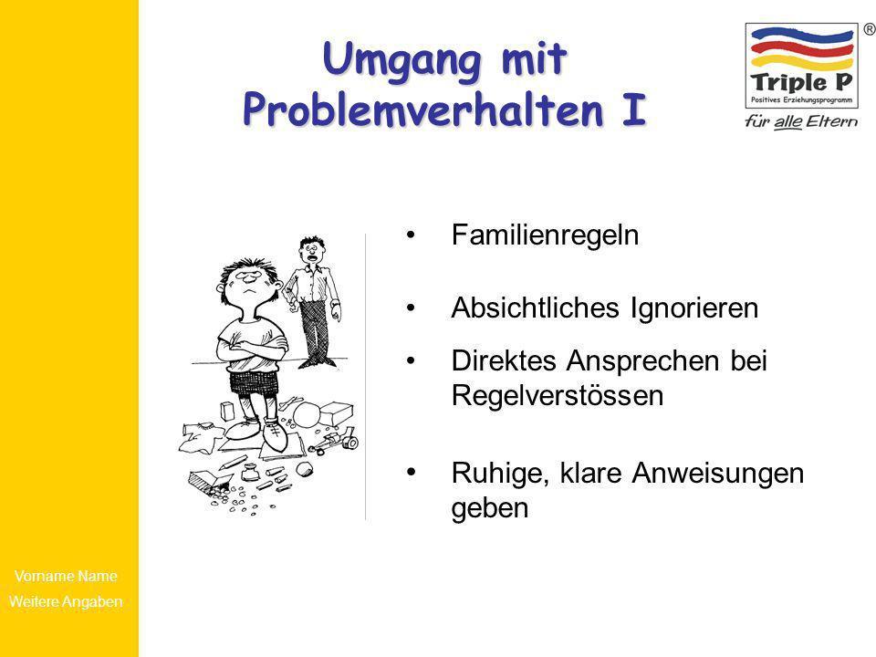 Vorname Name Weitere Angaben Umgang mit Problemverhalten I Familienregeln Absichtliches Ignorieren Direktes Ansprechen bei Regelverstössen Ruhige, kla