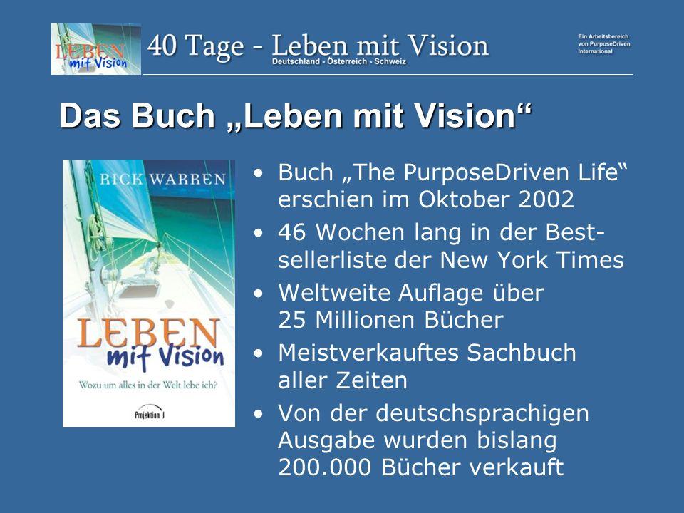 Das Buch Leben mit Vision Buch The PurposeDriven Life erschien im Oktober 2002 46 Wochen lang in der Best- sellerliste der New York Times Weltweite Auflage über 25 Millionen Bücher Meistverkauftes Sachbuch aller Zeiten Von der deutschsprachigen Ausgabe wurden bislang 200.000 Bücher verkauft
