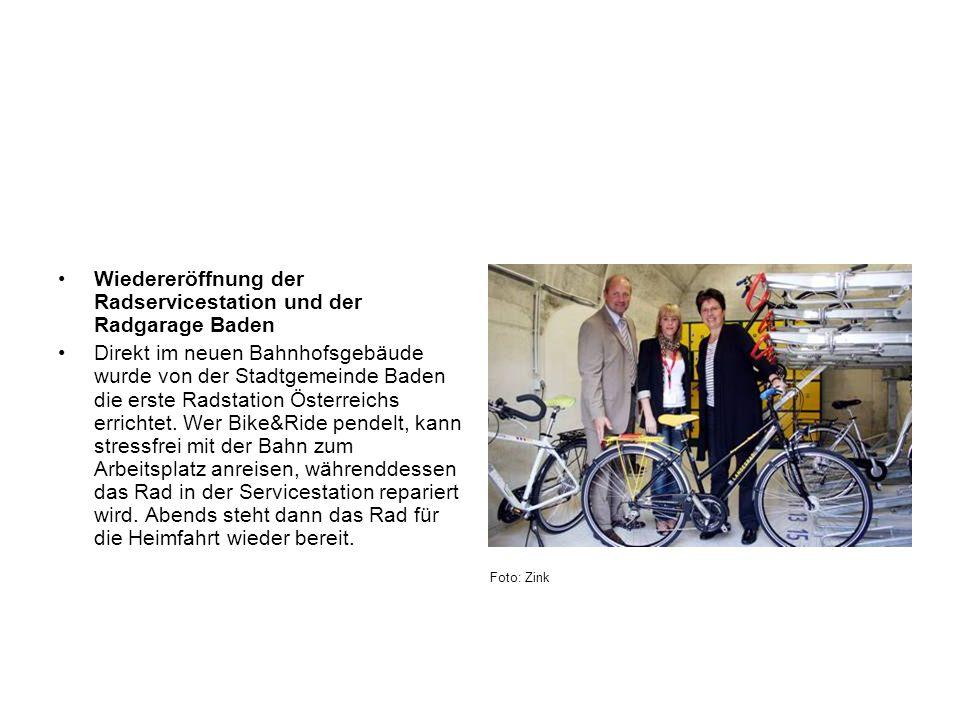 Wiedereröffnung der Radservicestation und der Radgarage Baden Direkt im neuen Bahnhofsgebäude wurde von der Stadtgemeinde Baden die erste Radstation Ö
