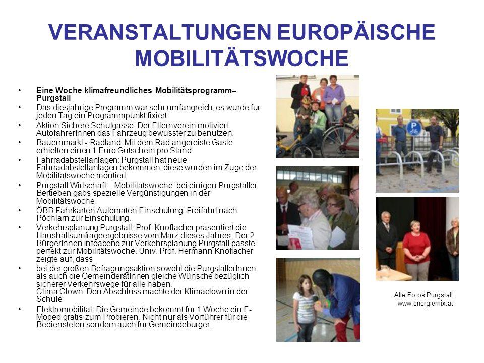 VERANSTALTUNGEN EUROPÄISCHE MOBILITÄTSWOCHE Eine Woche klimafreundliches Mobilitätsprogramm– Purgstall Das diesjährige Programm war sehr umfangreich,