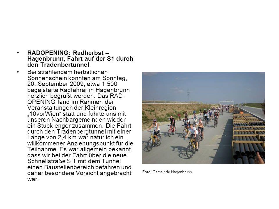 RADOPENING: Radherbst – Hagenbrunn, Fahrt auf der S1 durch den Tradenbertunnel Bei strahlendem herbstlichen Sonnenschein konnten am Sonntag, 20. Septe