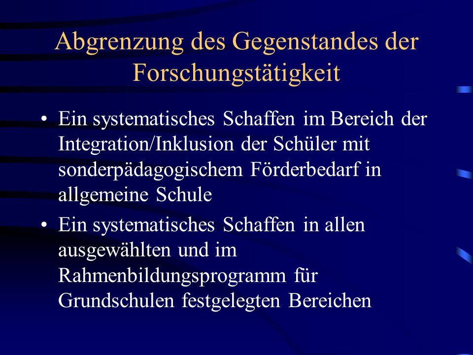Teilziele des Forschungsprojektes 2007-2013 Ein sonderpädagogischer Förderbedarf im Kontext des Rahmenbildungsprogramms für Grundschulen in der Tschechischen Republik