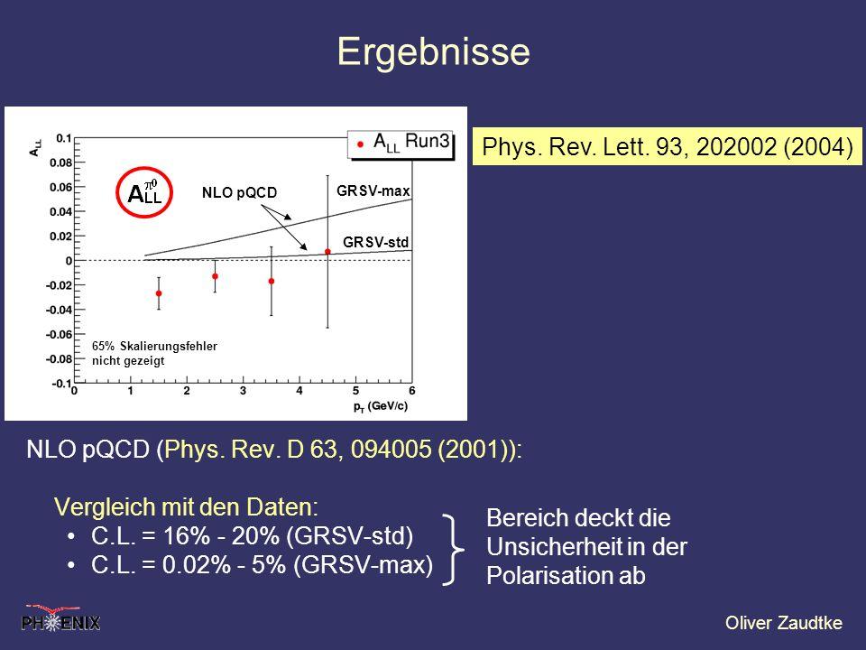 Oliver Zaudtke Ergebnisse NLO pQCD (Phys. Rev. D 63, 094005 (2001)): Vergleich mit den Daten: C.L. = 16% - 20% (GRSV-std) C.L. = 0.02% - 5% (GRSV-max)