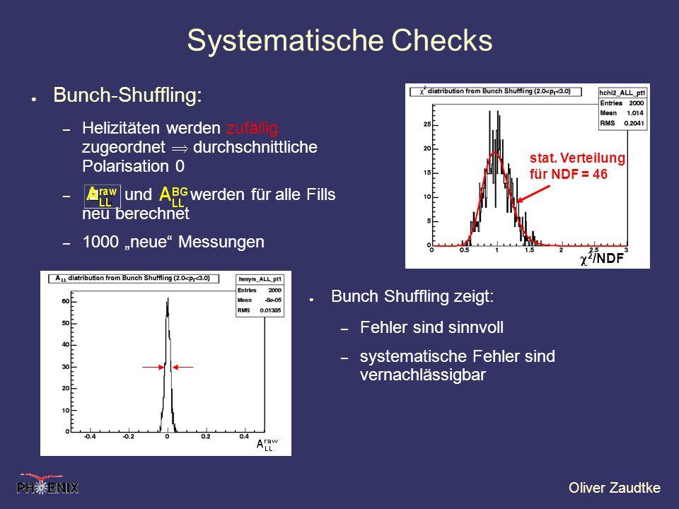 Oliver Zaudtke Bunch-Shuffling: – Helizitäten werden zufällig zugeordnet durchschnittliche Polarisation 0 – und werden für alle Fills neu berechnet –
