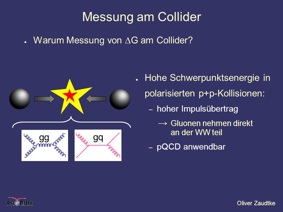 Oliver Zaudtke Messung am Collider Warum Messung von G am Collider? Hohe Schwerpunktsenergie in polarisierten p+p-Kollisionen: – hoher Impulsübertrag
