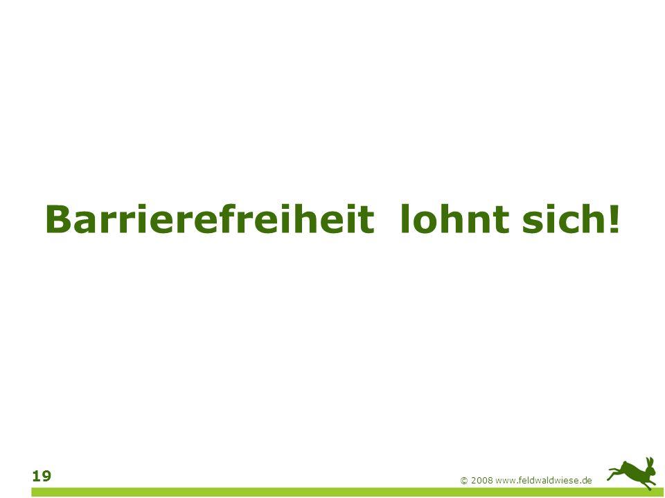© 2008 www.feldwaldwiese.de 20 Hilfsmittel für Blinde Screenreader Zum Auslesen des Bildschirminhalts, zum Beispiel von Text, Menüs, Kontrollelementen, Webseiten Sprachausgabe Zur Ausgabe in gesprochener Sprache Braillezeile Zur Ausgabe in Blindenschrift (Braille)