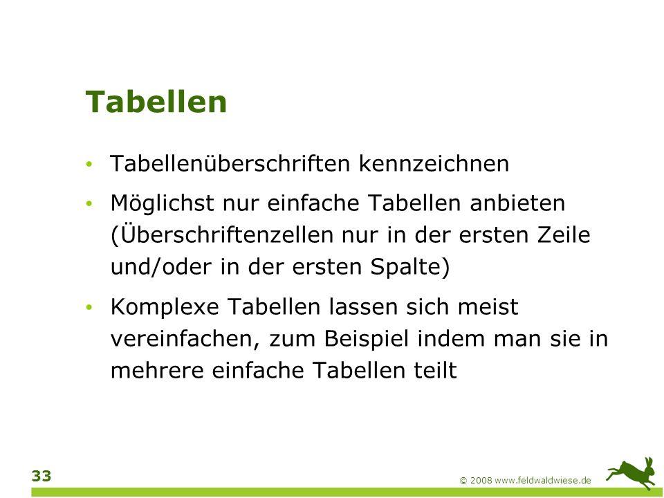 © 2008 www.feldwaldwiese.de 34 Farben Sehr wichtiges Thema für Benutzer mit Sehbehinderungen Keine Informationen ausschließlich über Farbe vermitteln (bei Bild und Text) Für ausreichende Helligkeitskontraste sorgen