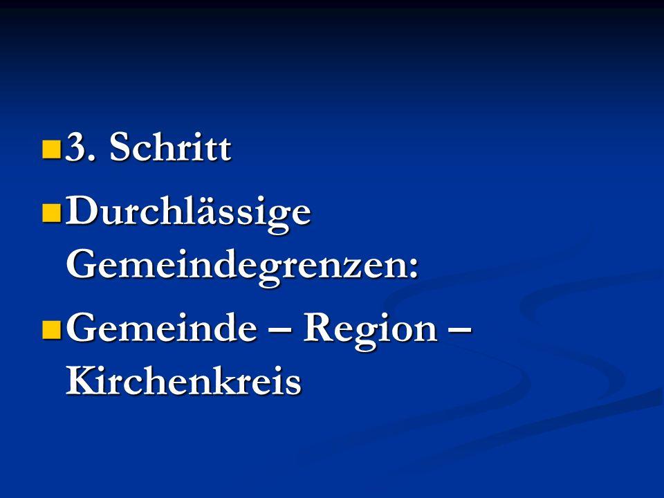 3. Schritt 3. Schritt Durchlässige Gemeindegrenzen: Durchlässige Gemeindegrenzen: Gemeinde – Region – Kirchenkreis Gemeinde – Region – Kirchenkreis