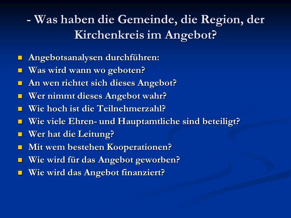 - Was haben die Gemeinde, die Region, der Kirchenkreis im Angebot.
