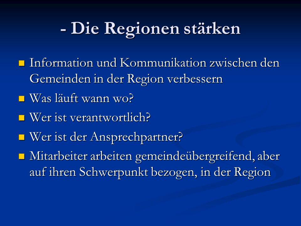- Die Regionen stärken Information und Kommunikation zwischen den Gemeinden in der Region verbessern Information und Kommunikation zwischen den Gemeinden in der Region verbessern Was läuft wann wo.