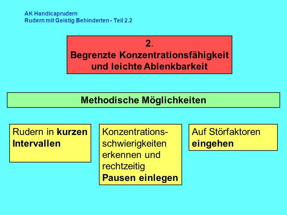 2. Begrenzte Konzentrationsfähigkeit und leichte Ablenkbarkeit Methodische Möglichkeiten Konzentrations- schwierigkeiten erkennen und rechtzeitig Paus
