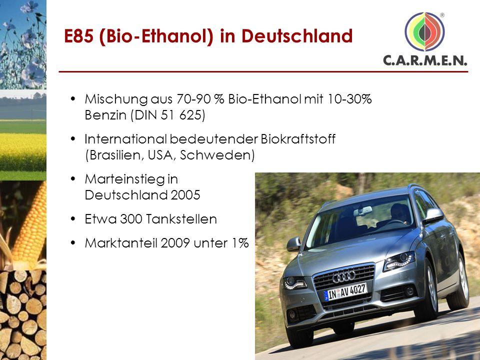 E85 (Bio-Ethanol) in Deutschland Mischung aus 70-90 % Bio-Ethanol mit 10-30% Benzin (DIN 51 625) International bedeutender Biokraftstoff (Brasilien, U