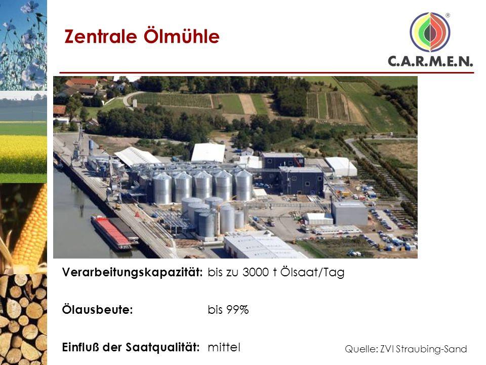 Zentrale Ölmühle Verarbeitungskapazität: bis zu 3000 t Ölsaat/Tag Ölausbeute: bis 99% Einfluß der Saatqualität: mittel Quelle: ZVI Straubing-Sand