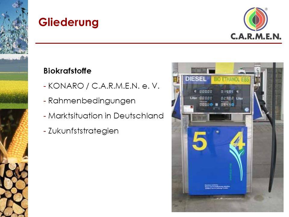 Gliederung Biokrafstoffe - KONARO / C.A.R.M.E.N. e. V. - Rahmenbedingungen - Marktsituation in Deutschland - Zukunfststrategien