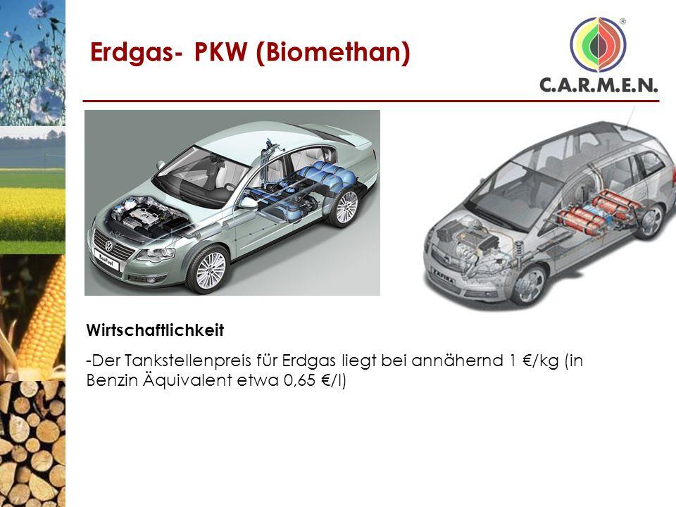 Erdgas- PKW (Biomethan) Wirtschaftlichkeit -Der Tankstellenpreis für Erdgas liegt bei annähernd 1 /kg (in Benzin Äquivalent etwa 0,65 /l)