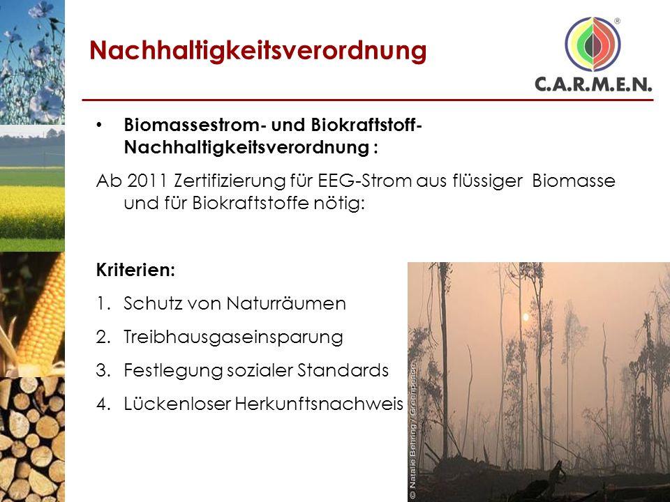 Nachhaltigkeitsverordnung Biomassestrom- und Biokraftstoff- Nachhaltigkeitsverordnung : Ab 2011 Zertifizierung für EEG-Strom aus flüssiger Biomasse un