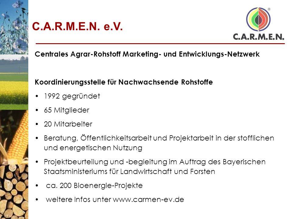 Centrales Agrar-Rohstoff Marketing- und Entwicklungs-Netzwerk Koordinierungsstelle für Nachwachsende Rohstoffe 1992 gegründet 65 Mitglieder 20 Mitarbe