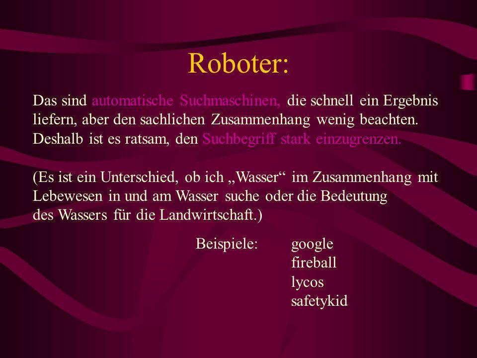 Roboter: Das sind automatische Suchmaschinen, die schnell ein Ergebnis liefern, aber den sachlichen Zusammenhang wenig beachten.