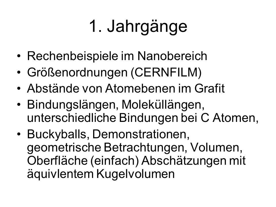 1. Jahrgänge Rechenbeispiele im Nanobereich Größenordnungen (CERNFILM) Abstände von Atomebenen im Grafit Bindungslängen, Moleküllängen, unterschiedlic