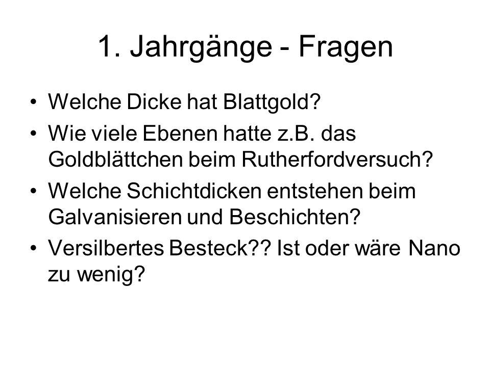 1.Jahrgänge - Fragen Welche Dicke hat Blattgold. Wie viele Ebenen hatte z.B.