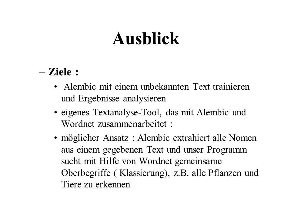 Ausblick –Ziele : Alembic mit einem unbekannten Text trainieren und Ergebnisse analysieren eigenes Textanalyse-Tool, das mit Alembic und Wordnet zusam