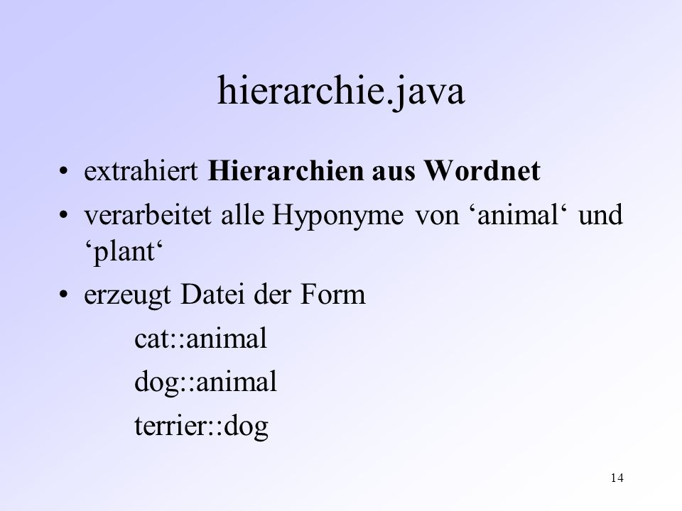 14 hierarchie.java extrahiert Hierarchien aus Wordnet verarbeitet alle Hyponyme von animal und plant erzeugt Datei der Form cat::animal dog::animal terrier::dog