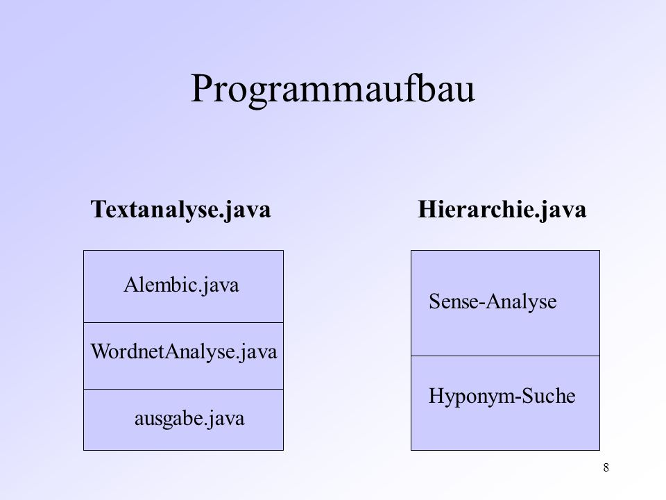 8 Programmaufbau ausgabe.java Alembic.java WordnetAnalyse.java Textanalyse.javaHierarchie.java Sense-Analyse Hyponym-Suche