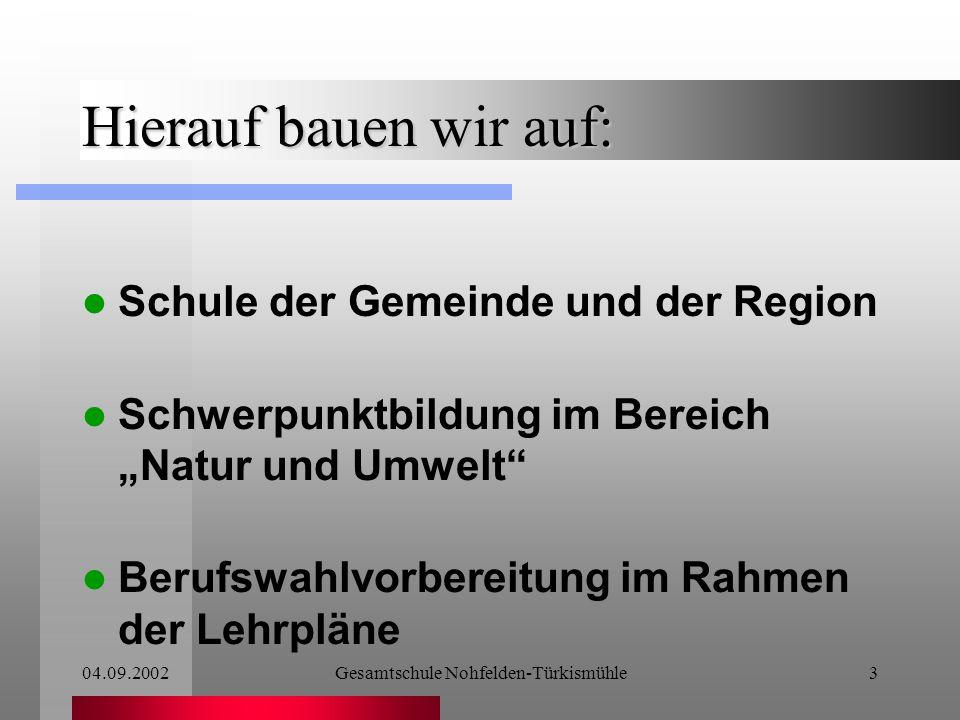04.09.2002Gesamtschule Nohfelden-Türkismühle2 Warum beteiligen wir uns an diesem Projekt.