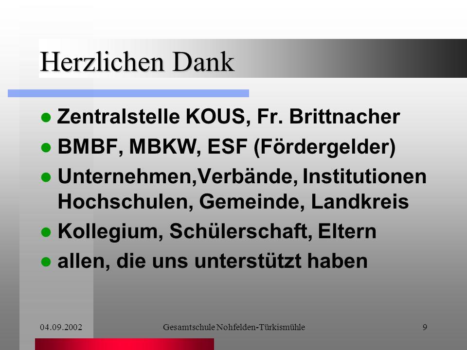 04.09.2002Gesamtschule Nohfelden-Türkismühle8 Was kommt ins Schulprogramm.