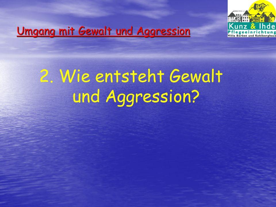 Umgang mit Gewalt und Aggression 3. Wie gehen Sie als Vorgesetzte mit Gewalt und Aggressionen um?