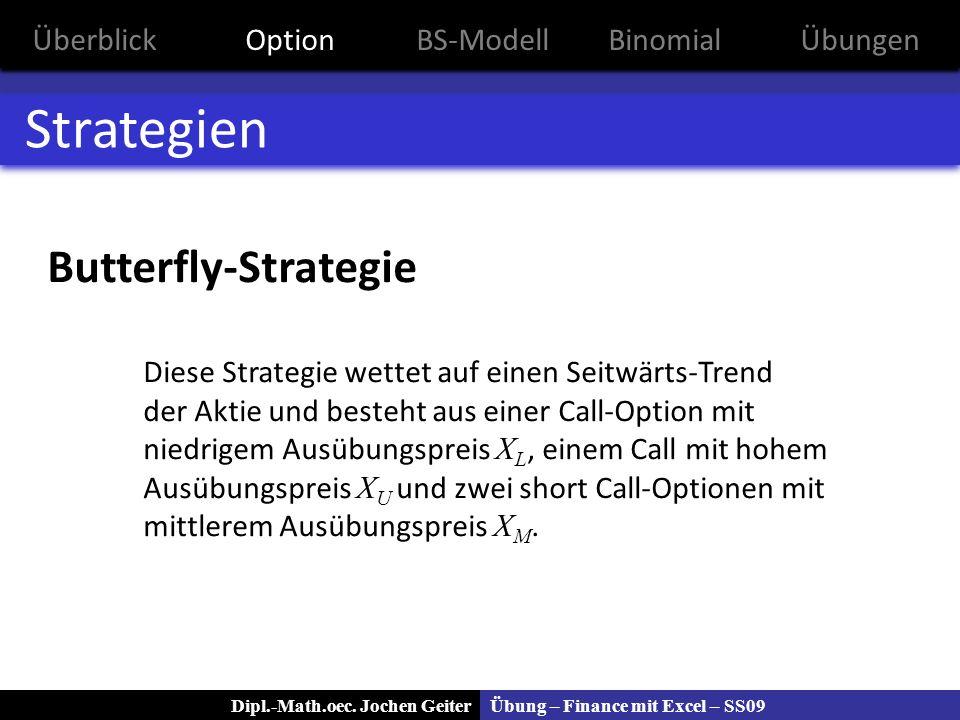 Übung – Finance mit Excel – SS09Dipl.-Math.oec. Jochen Geiter Strategien Butterfly-Strategie Diese Strategie wettet auf einen Seitwärts-Trend der Akti