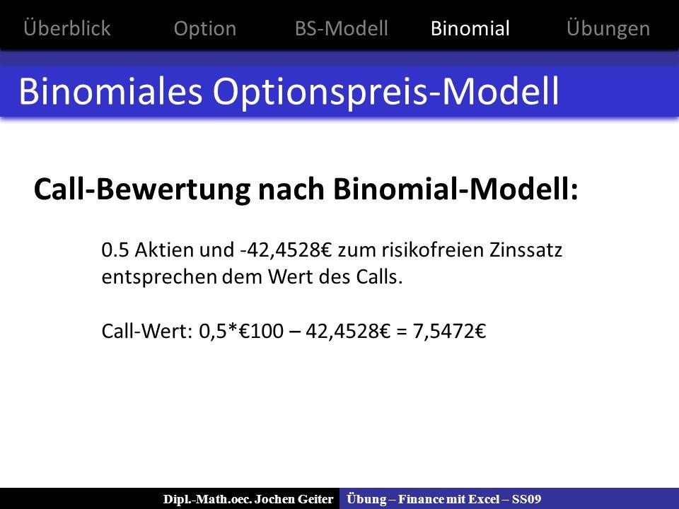 Übung – Finance mit Excel – SS09Dipl.-Math.oec. Jochen Geiter Binomiales Optionspreis-Modell Call-Bewertung nach Binomial-Modell: 0.5 Aktien und -42,4
