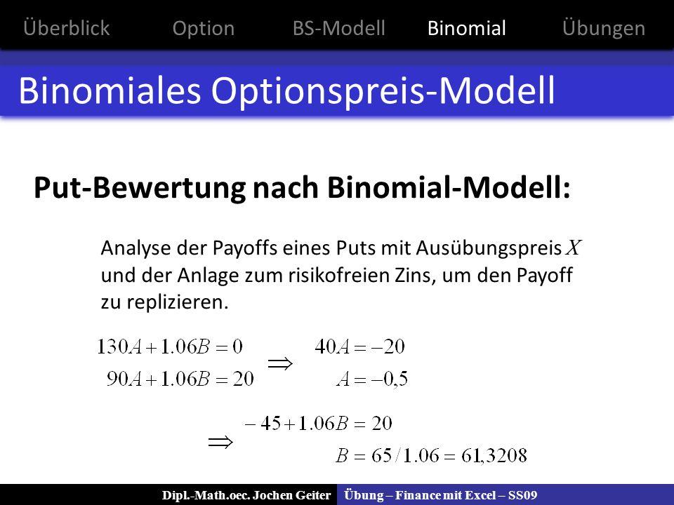 Übung – Finance mit Excel – SS09Dipl.-Math.oec. Jochen Geiter Binomiales Optionspreis-Modell Put-Bewertung nach Binomial-Modell: Analyse der Payoffs e