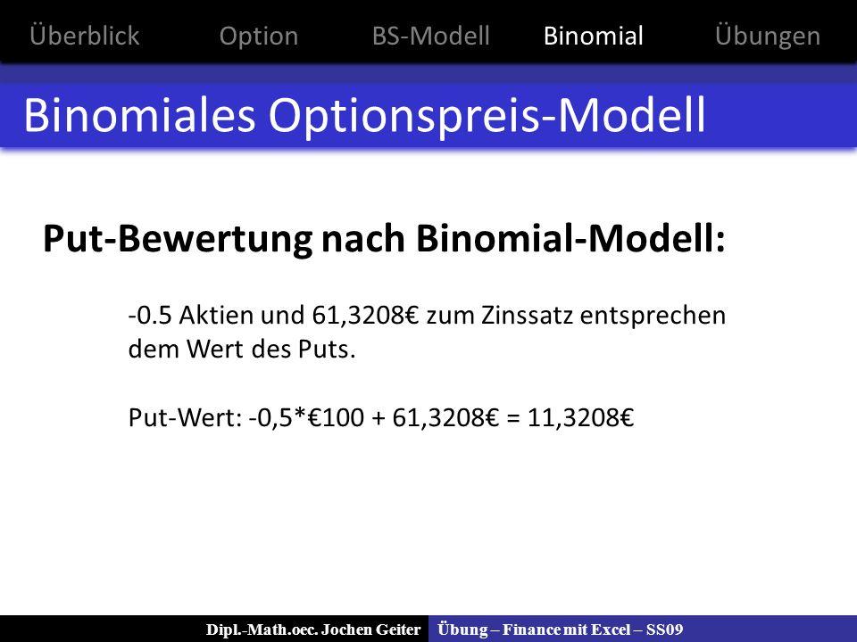 Übung – Finance mit Excel – SS09Dipl.-Math.oec. Jochen Geiter Binomiales Optionspreis-Modell Put-Bewertung nach Binomial-Modell: -0.5 Aktien und 61,32