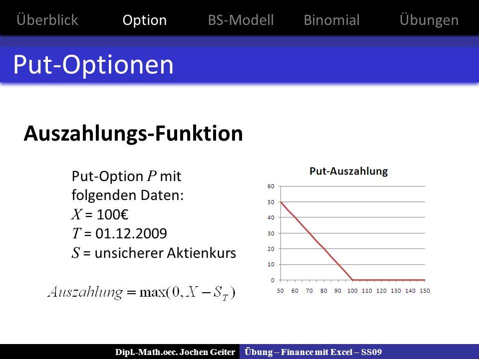 Übung – Finance mit Excel – SS09Dipl.-Math.oec. Jochen Geiter Put-Optionen Auszahlungs-Funktion Put-Option P mit folgenden Daten: X = 100 T = 01.12.20