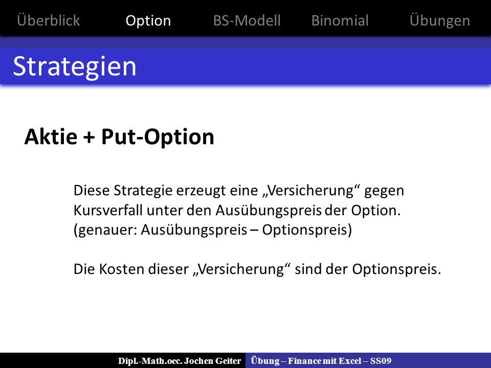 Übung – Finance mit Excel – SS09Dipl.-Math.oec. Jochen Geiter Strategien Aktie + Put-Option Diese Strategie erzeugt eine Versicherung gegen Kursverfal