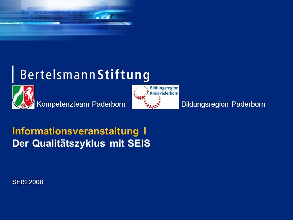 Kompetenzteam Paderborn Bildungsregion Paderborn Seite 2 Die wichtigsten Vorteile von SEIS (1) Ganzheitlichkeit: Das Steuerungsinstrument erfasst die Schule als System Erfassung aller relevanten Bereiche Befragung aller relevanten Gruppen Anknüpfungsmöglichkeiten zu weiteren Datenquellen (der externen Evaluation, Lernstandserhebungen) und QM-Systemen Handhabbarkeit: SEIS ist ein leicht einsetzbares Instrument erprobte und überprüfte Fragebögen einfaches und transparentes Verfahren relativ geringer Arbeits- und Zeitaufwand für die Schulen