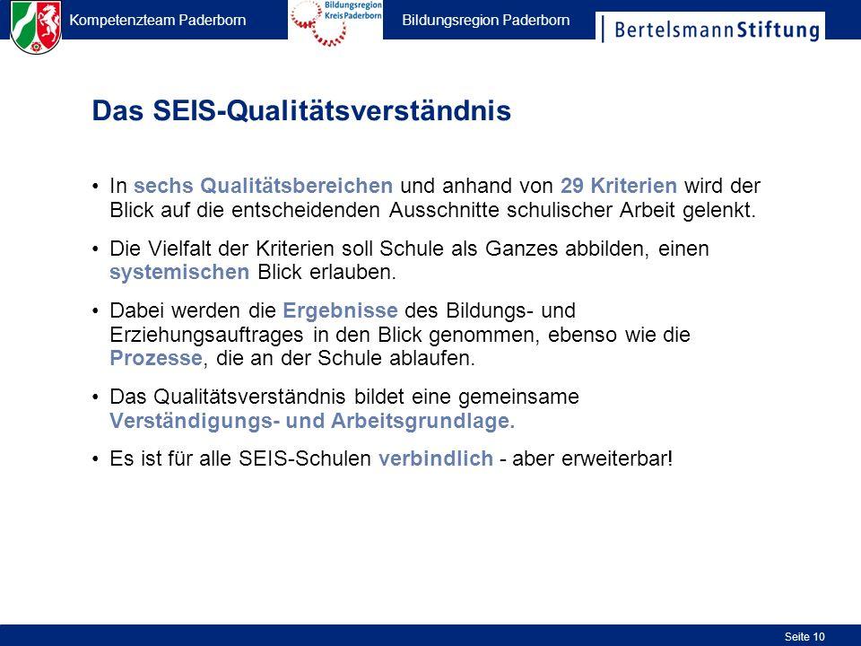 Kompetenzteam Paderborn Bildungsregion Paderborn Seite 10 Das SEIS-Qualitätsverständnis In sechs Qualitätsbereichen und anhand von 29 Kriterien wird d