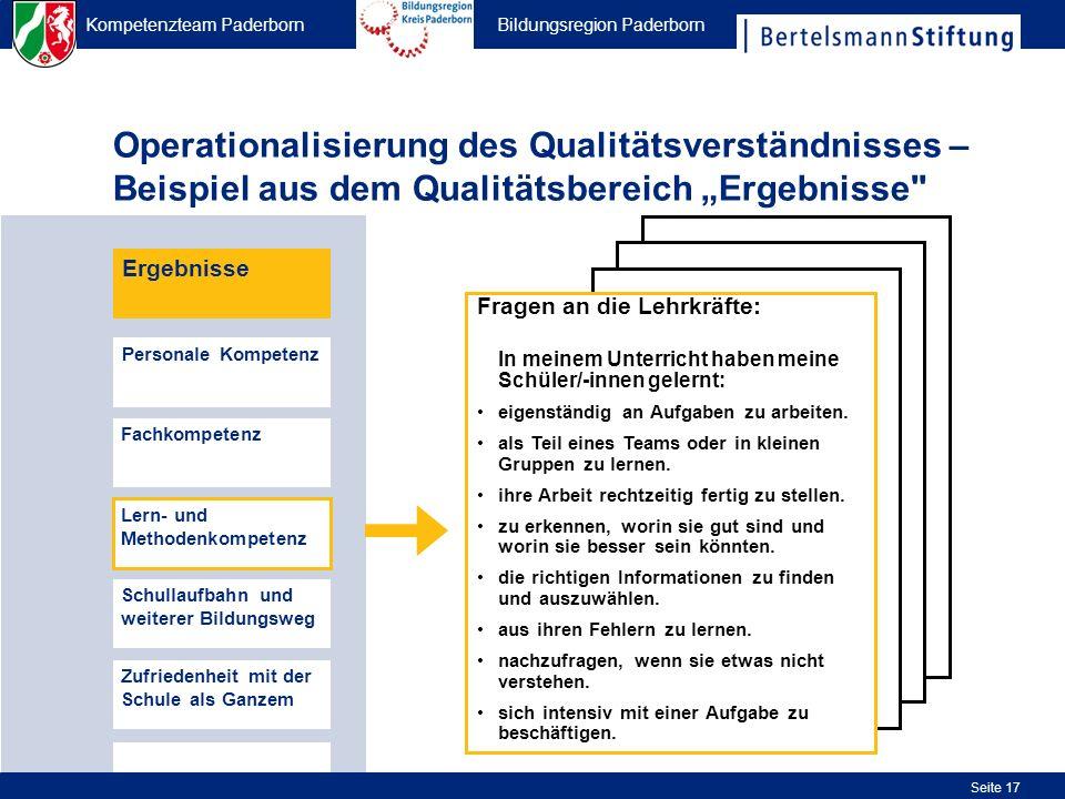 Kompetenzteam Paderborn Bildungsregion Paderborn Seite 17 Operationalisierung des Qualitätsverständnisses – Beispiel aus dem Qualitätsbereich Ergebnis