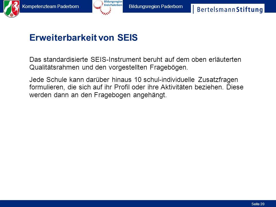 Kompetenzteam Paderborn Bildungsregion Paderborn Seite 20 Erweiterbarkeit von SEIS Das standardisierte SEIS-Instrument beruht auf dem oben erläuterten