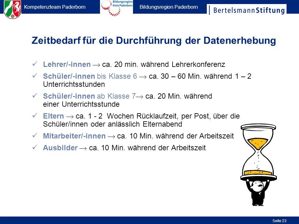Kompetenzteam Paderborn Bildungsregion Paderborn Seite 23 Zeitbedarf für die Durchführung der Datenerhebung Lehrer/-innen ca. 20 min. während Lehrerko