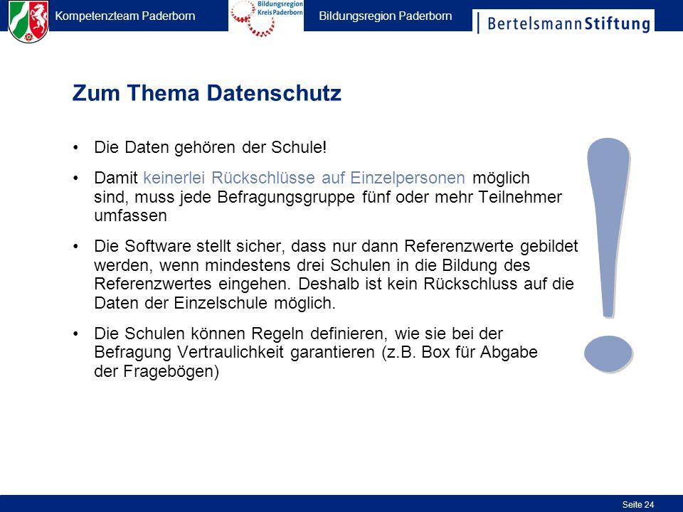 Kompetenzteam Paderborn Bildungsregion Paderborn Seite 24 Zum Thema Datenschutz Die Daten gehören der Schule! Damit keinerlei Rückschlüsse auf Einzelp